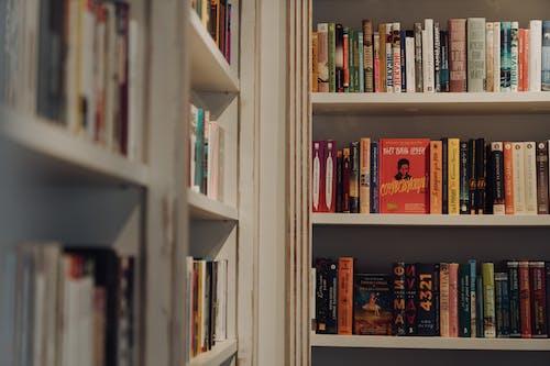 Libros En Estante De Madera Blanca