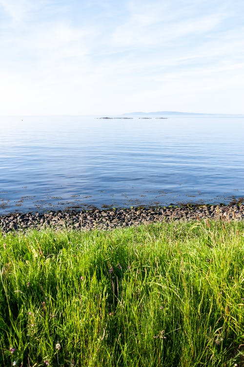 Picturesque view of calm sea and stony coast with green grass in Northern Ireland