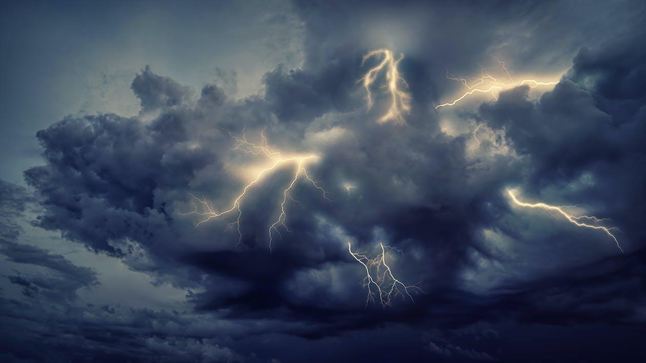 Lightning Strike on Cloudy Sky