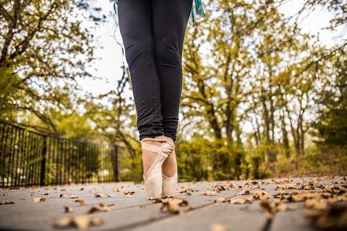 Crop ballerina standing on toes in autumn park