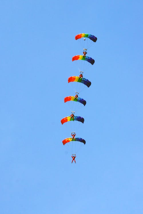 Red Yellow and Blue Balloons in the Sky