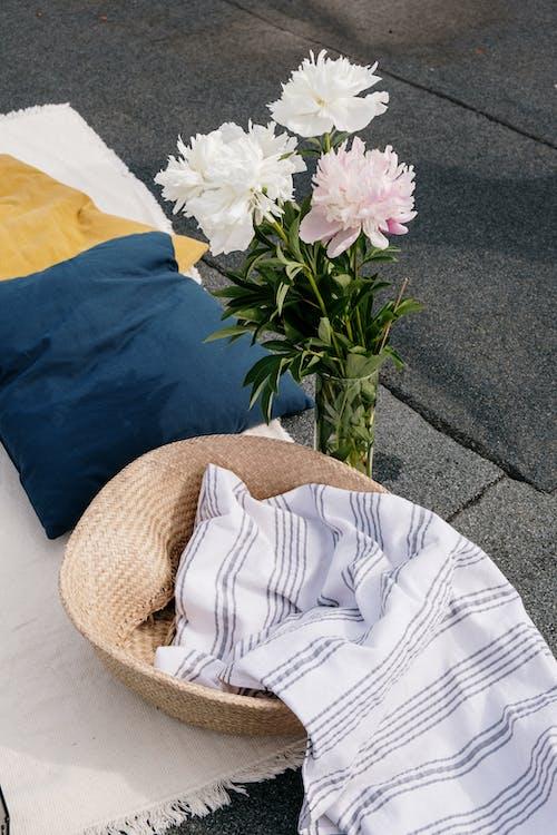 White and Blue Textile on White Textile