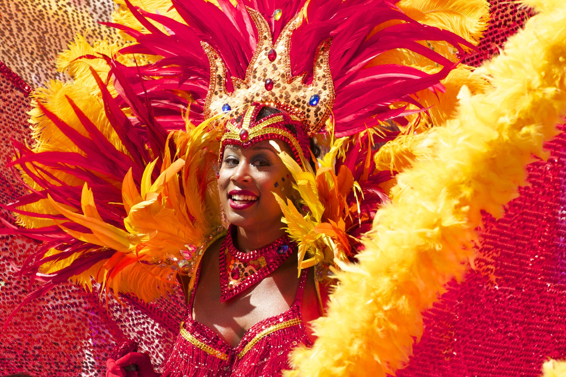 carnival woman costume orange 48796
