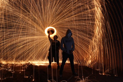 Steel Wool Photography Two Persons