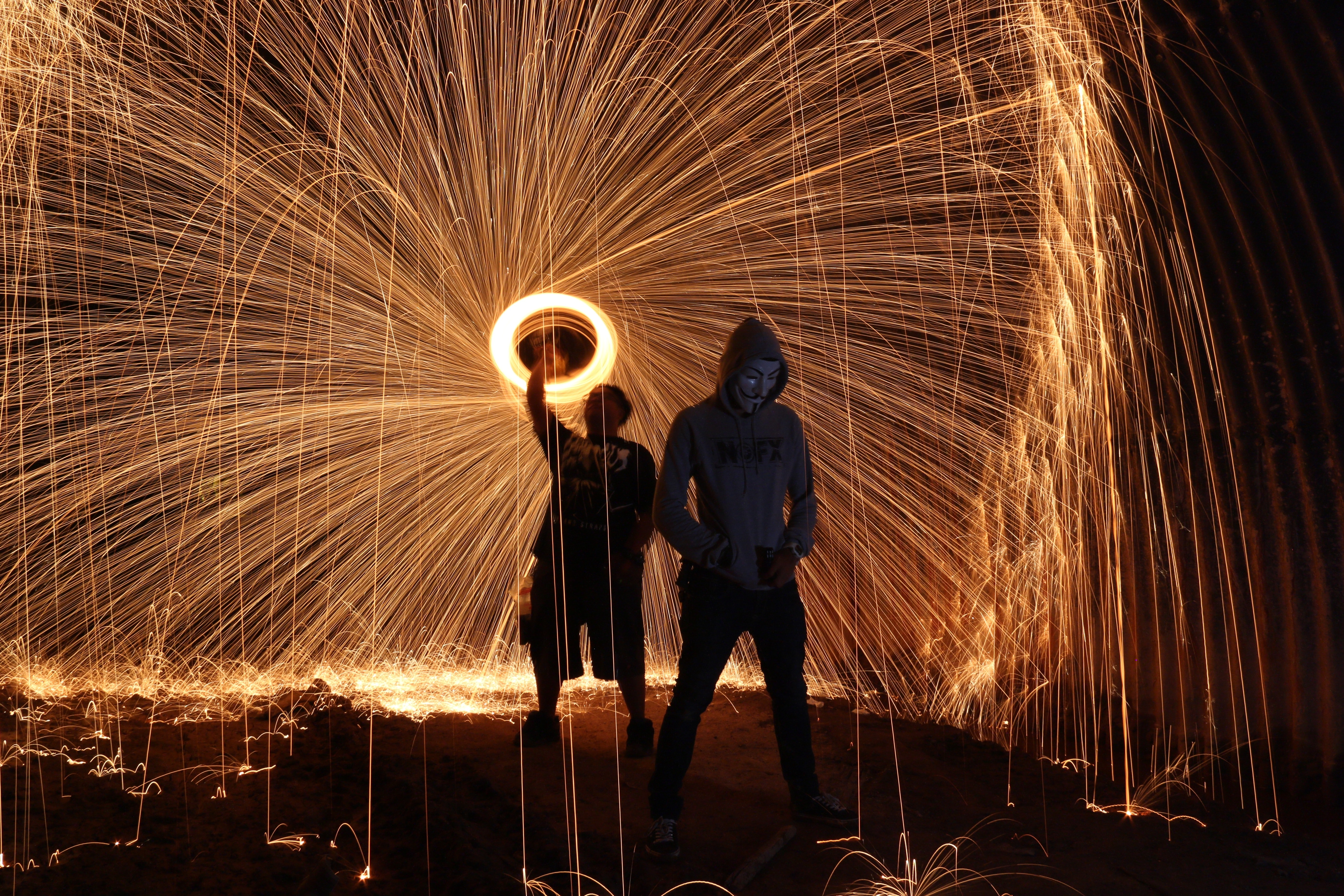 Steel Wool Photography Two Persons 183 Free Stock Photo