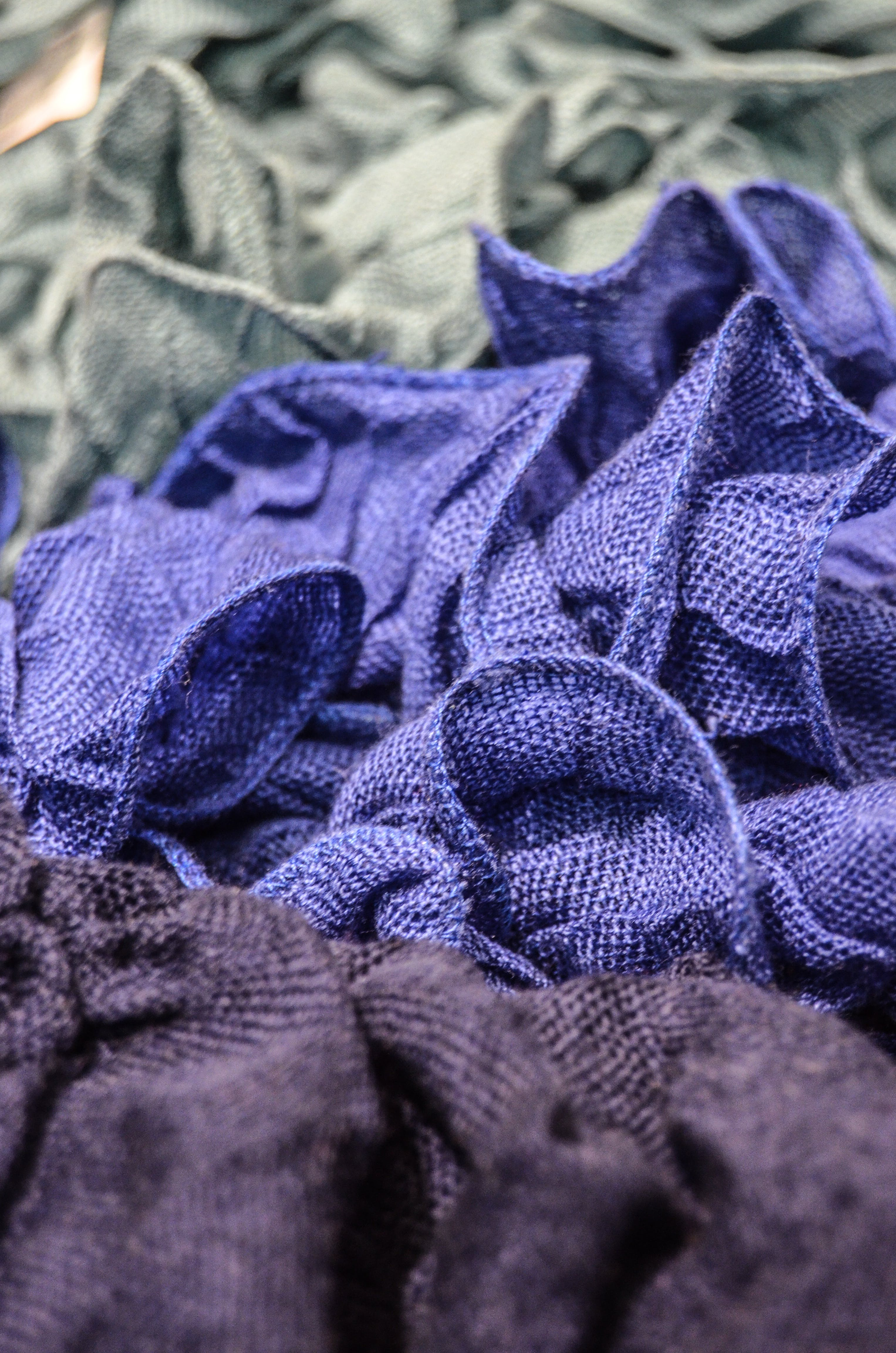 Selective Focus Photo of Purple and Gray Mesh Textile