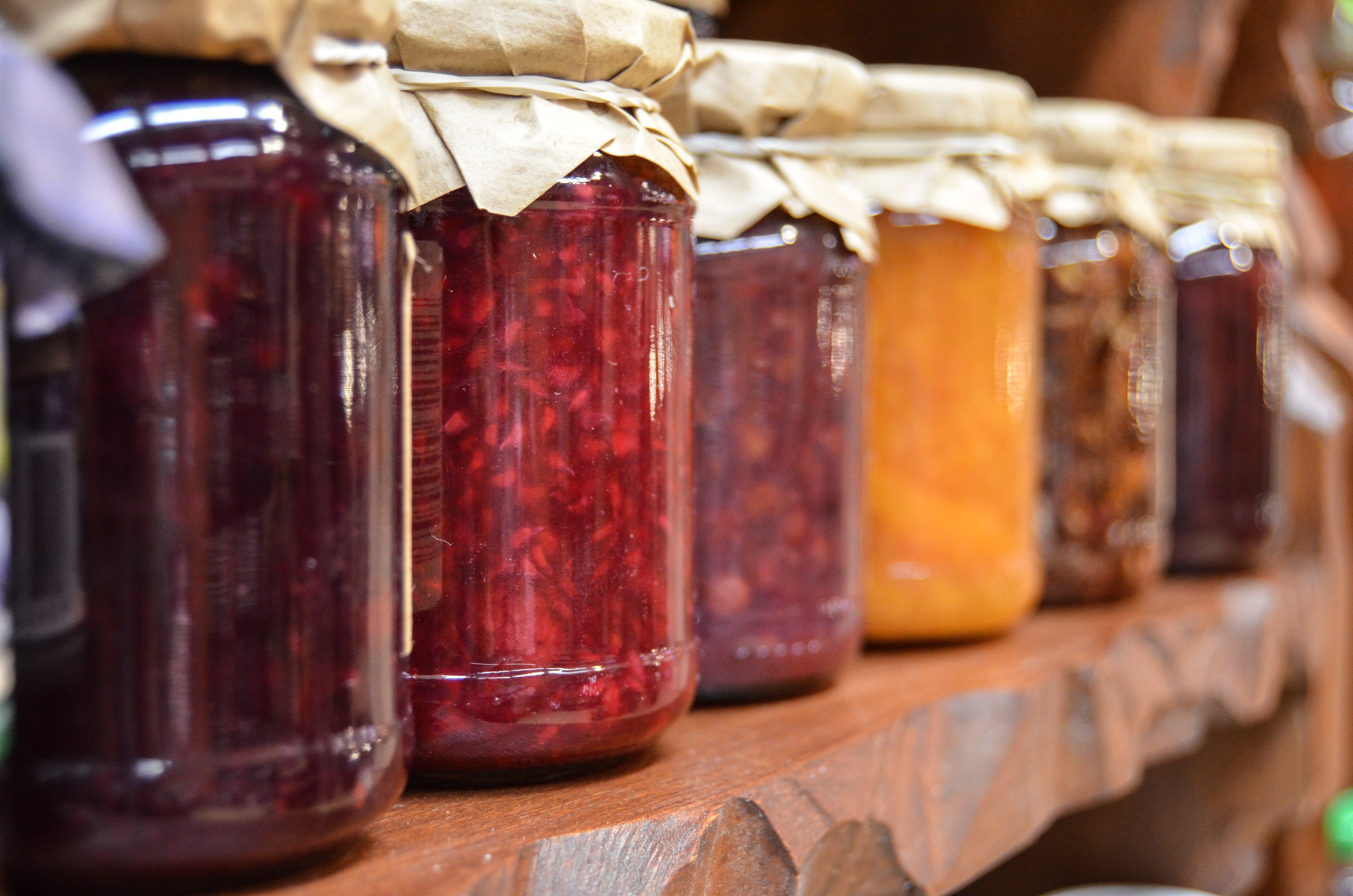 Základová fotografie zdarma na téma čerstvé potraviny, džem, ostření, police