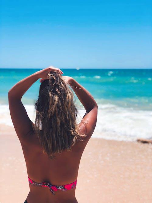 Barış, huzur, mavi okyanus, mutluluk içeren Ücretsiz stok fotoğraf