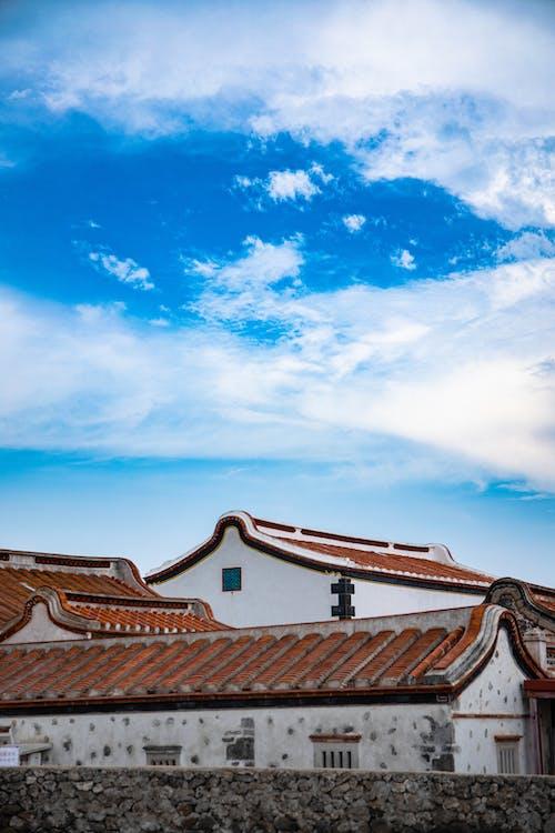 Gratis arkivbilde med bakgrunnsbilde, blå himmel, gammelt hus