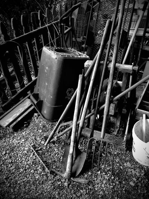 Free stock photo of black and white, gardening, landscaping, pitchfork