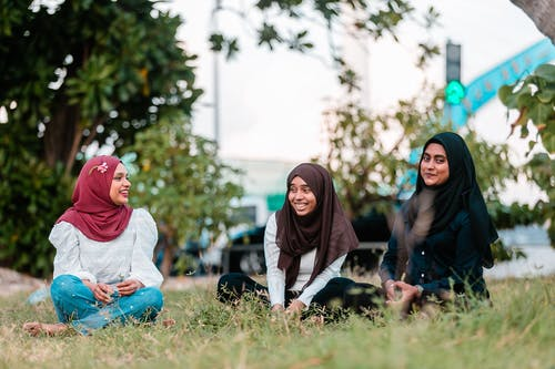 Cheerful Muslim women gathering on lawn in park and talking