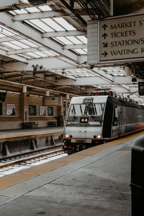 Train on railroad station in daylight