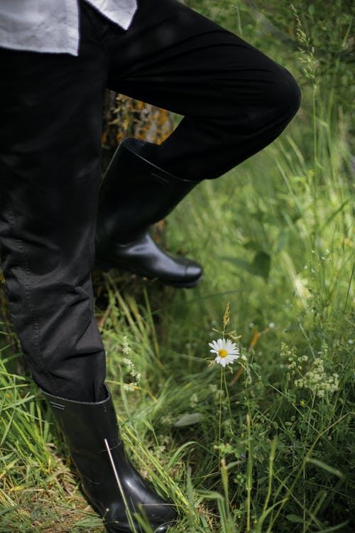 Person in Black Pants and Black Leather Boots Standing on Green Grass Field