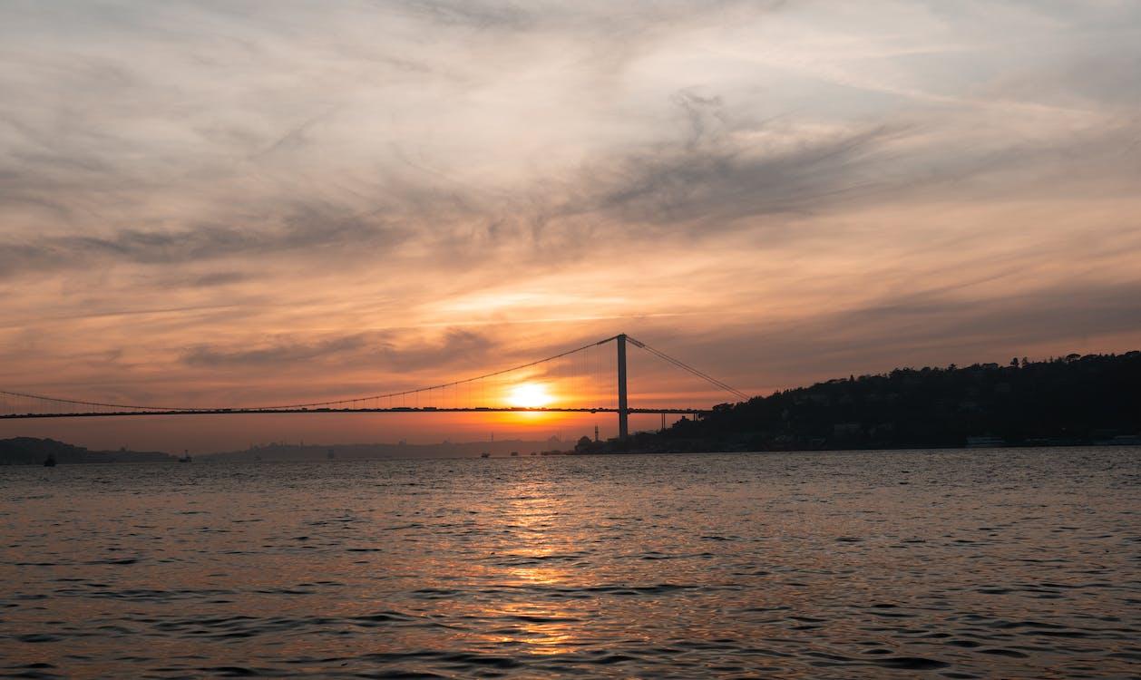 Golden Gate Bridge Under Cloudy Sky during Sunset