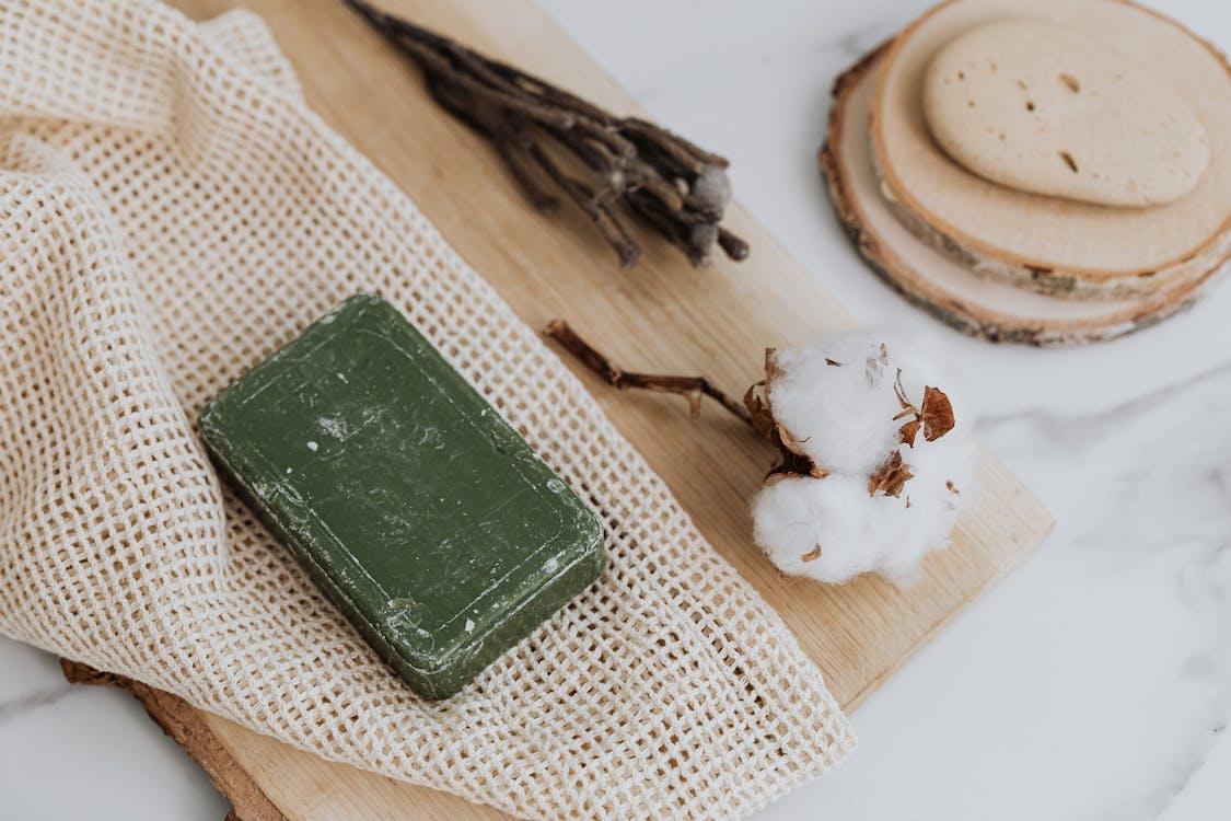Green Leather Wallet on White Textile
