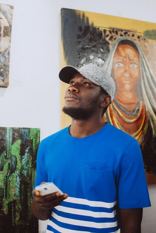 Kostenloses Stock Foto zu afroamerikanischer mann, app, bart