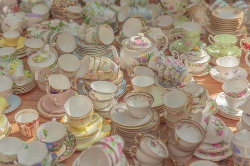 White Ceramic Teacup Set on Table