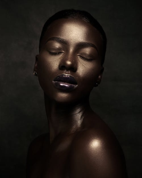 Black woman with smooth shiny skin