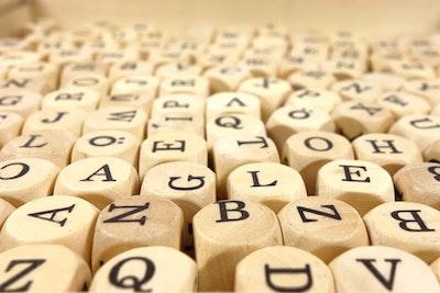 White Alphabet Dice