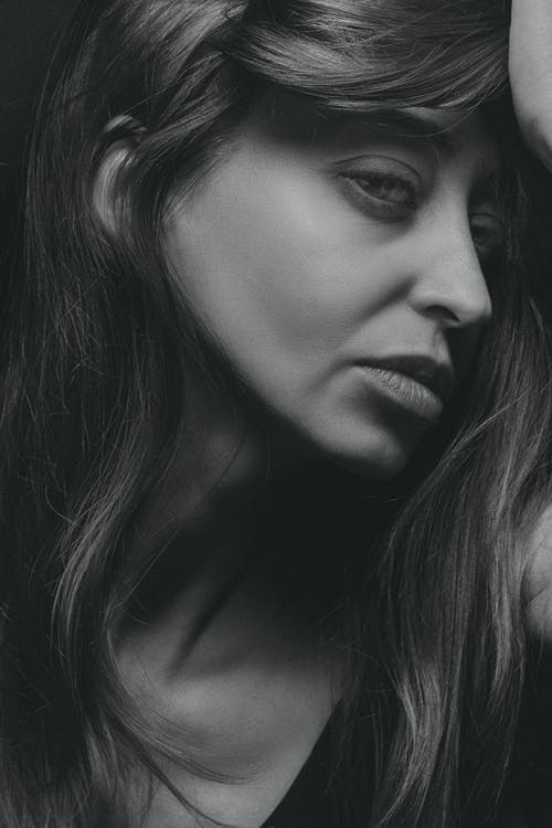A Woman's Face in Black and White