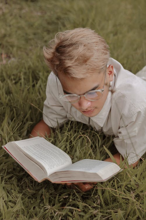 Focused young guy reading novel lying on lawn