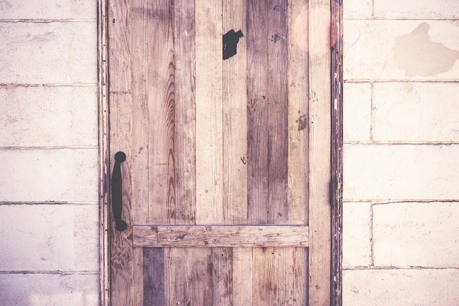 closed, door, rustic