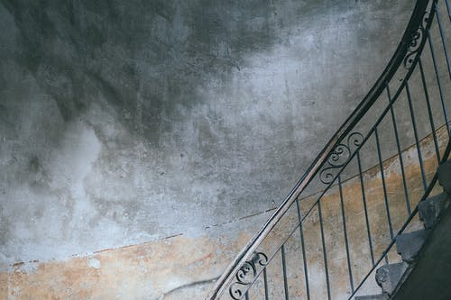 Staircase in entrance of residential house