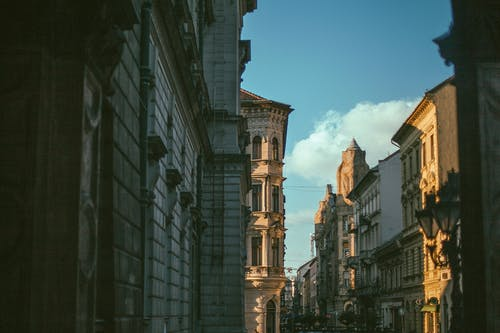 Street with classic buildings in city