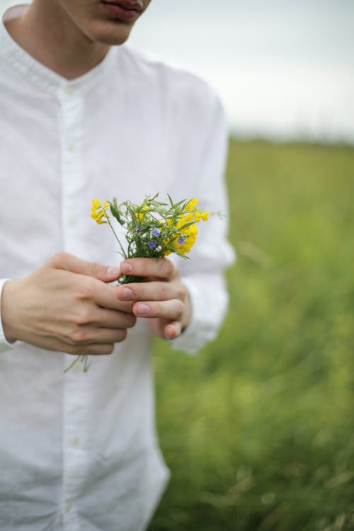 Person Holding White and Yellow Flowers