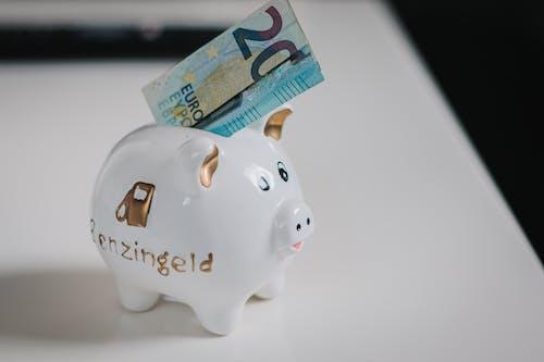 Close-Up Photo a 20 Euro Bill on Piggy Bank