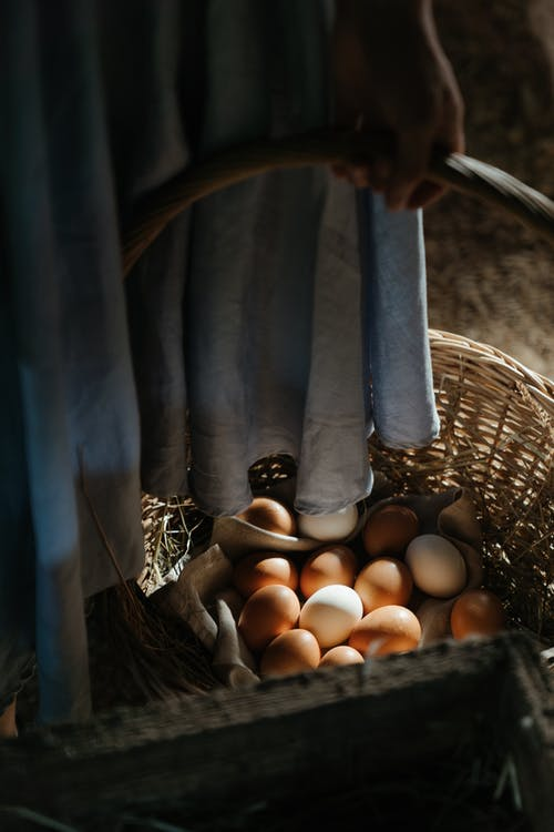 Brown Eggs in Brown Woven Basket