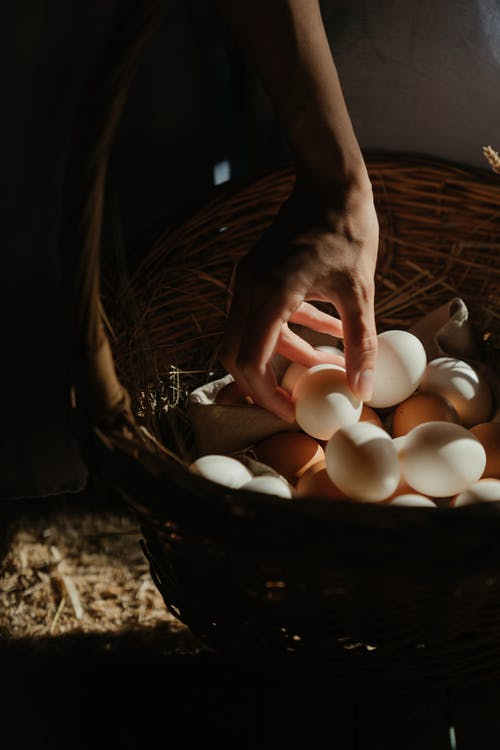 Person Holding Brown Woven Basket With White Eggs