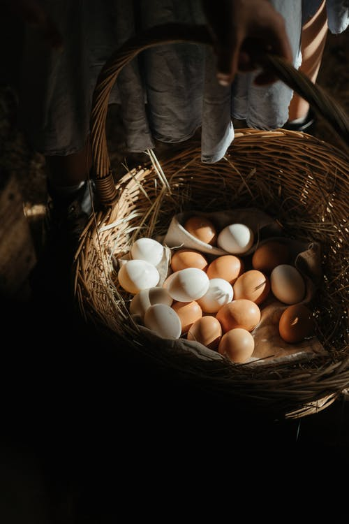 White Eggs in Brown Woven Basket