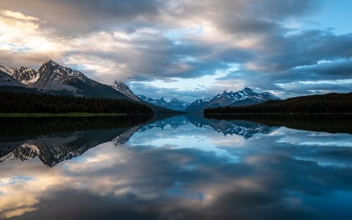 Lake and mountains at sundown