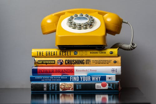 Free stock photo of books, crushing it, find your why, landline