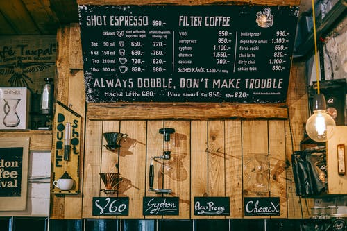 Cozy coffee house with creative decorated menu board