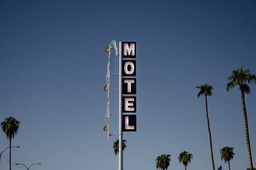 Low angle of motel signboard on metal pillar located at roadside near tall palms against cloudless blue sky