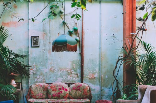 Interior of room with vintage chandelier and green plants growing above old coach at shabby wall with wooden column