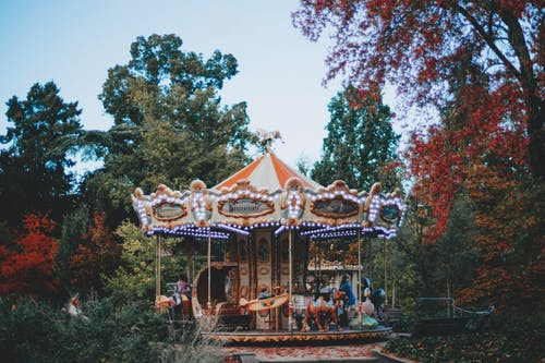 Carousel surrounded with green trees