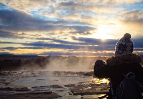 Free stock photo of geyser, iceland, sunset