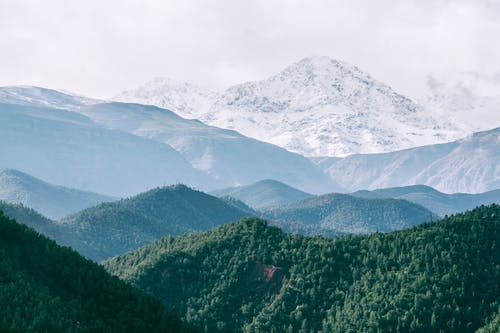 Picturesque view of snowy ridge against green forest under cloudy sky in foggy weather