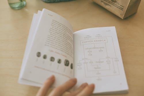 Обрезать человека, читающего книгу о кофе за столом