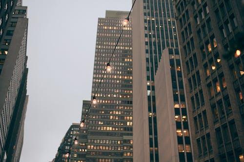 Modern skyscraper facades near shiny garland in evening