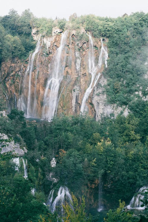 Picturesque waterfalls flowing among green lush forest in rocky ravine