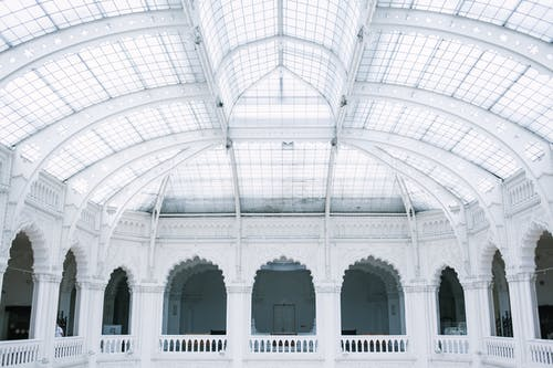 Arched structure with massive glass ceiling