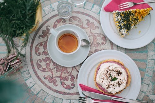 Delicious breakfast with coffee and desserts