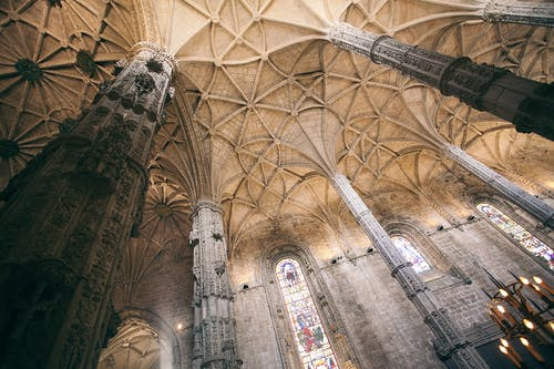 Interior of medieval cathedral with columns