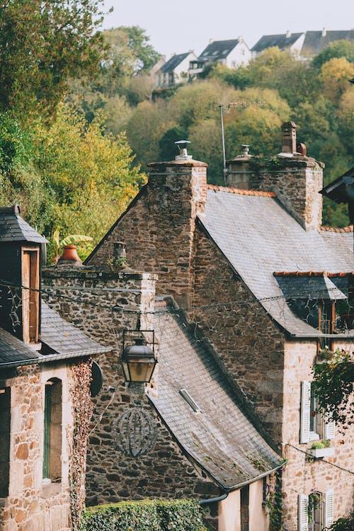Auténticas Casas Medievales Rodeadas De Frondosos árboles En La Ciudad