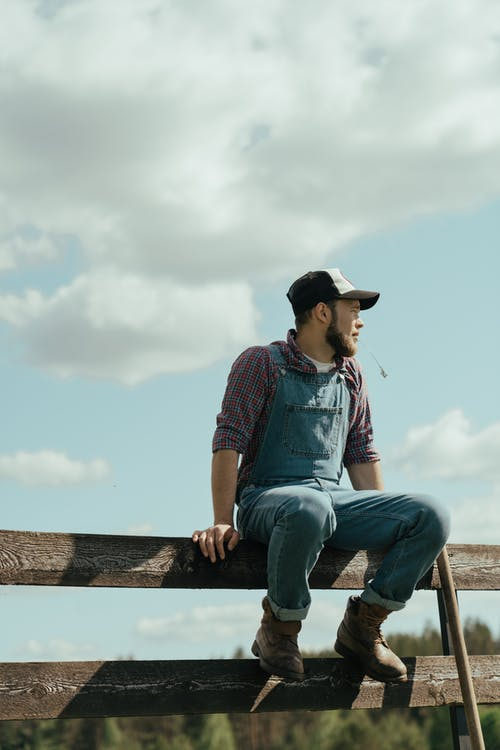 Man in Blue Denim Jeans and Red and Black Plaid Shirt Sitting on Brown Wooden Fence