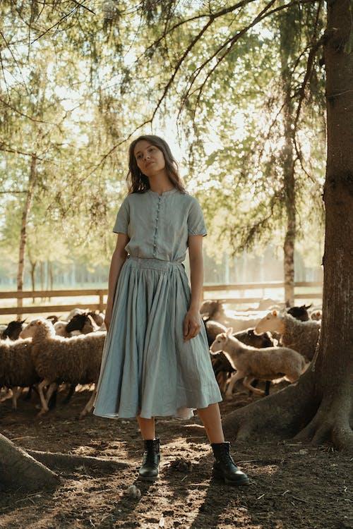 Girl in Blue Dress Standing on Brown Tree Log